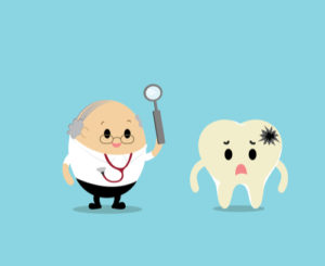 Cartoon of a dentists inspecting a cracked tooth - Burpengary Proactive Dental